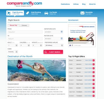 compareandfly com home page screen grab
