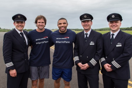 British Airways Man Vs Plane - Race winner Rudolph Raath with Bryan Habana_ and BA Pilots