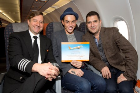 From L to R easyJet Captain Chris Foster Bobby Cole Norris and phobia expert Lawrence Leyton