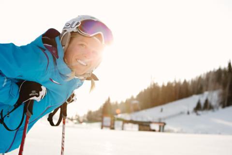 med skier winter resting