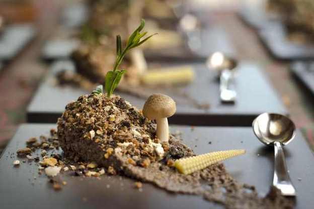 Martin Milesis   fake potato  with mushroom earth black olives and corn