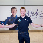 Tim Peake lands at Heathrow