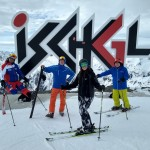 Posing by Ischgl sign. Pic Michael Cranmer
