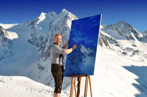 2 Adam Attew finishing his oil painting 'Last Light on the Kirchenkogel' 2760m up at Obergurgl in the Austrian Tirol