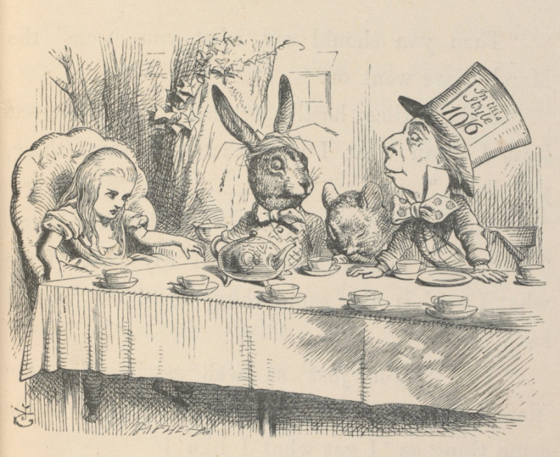 Alice at the Mad Hatters Tea Party Illustration for Alices Adventures in Wonderland by John Tenniel 1865 c Victoria and Albert Museum London