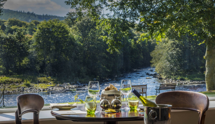 Banchory Lodge dining view of the river