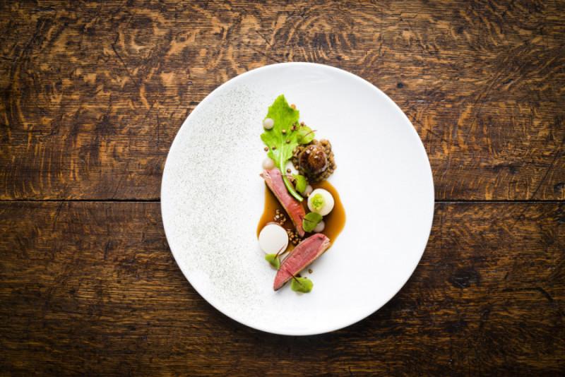 Squab pigeon turnip fermented green strawberry and buckwheat