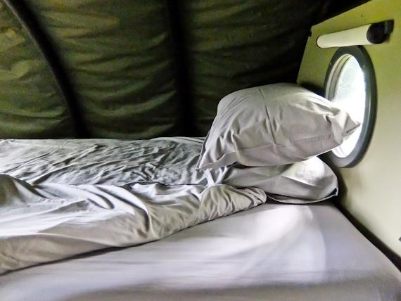 Bed inside Landpod