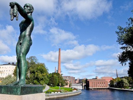 Tampere Statue and Rapids